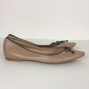 Coach Nude Leather Bow Ballet Flats